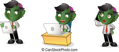 Zombie with laptop mascot