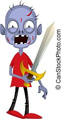Zombie with sword, illustration, vector on white background.