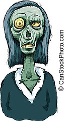 A cartoon zombie woman with a bulging eyeball.