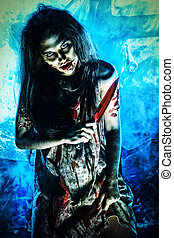 zombie woman - Bloodthirsty zombi standing at the night...