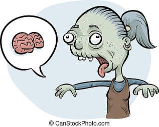 Zombie Woman Wanting Brains - A cartoon zombie woman asking...