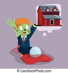 zombie, woning, het dit wensen, zakenman