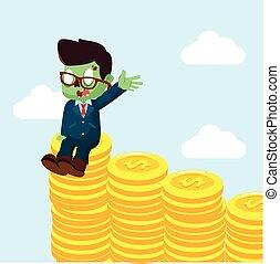 zombie, zakenman, het genieten van, op, stapel, van, munt