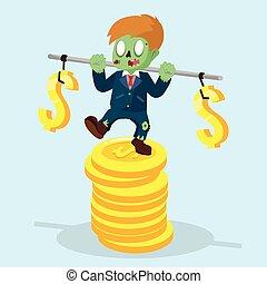 zombie, zakenman, stabiliseren, op, stapel, van, munt
