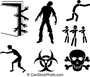Zombies Apocalypse Sign and Symbols - Vector icon set EPS8