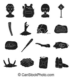 Zombies, man, terrible, and other web icon in black style.Apocalypse, dead, infected, icons in set collection.