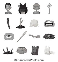 Zombies, man, terrible, and other web icon in monochrome style.Apocalypse, dead, infected, icons in set collection.