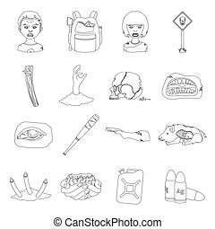 Zombies, man, terrible, and other web icon in outline style.Apocalypse, dead, infected, icons in set collection.