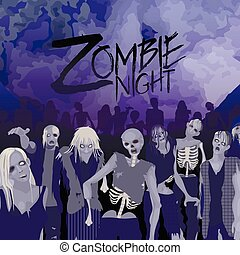 Zombies party. Zombie crowd walking forward with huge violet moon on background. Halloween night design