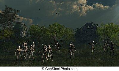 zombies, vagando cerca preda, medievale, castello