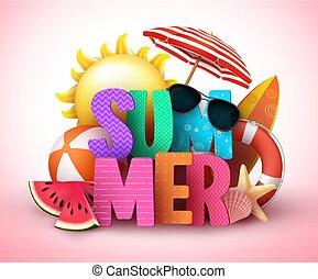zomer, 3d, tekst, vector, spandoek, ontwerp, met, kleurrijke, titel