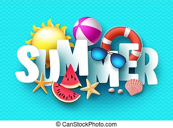 zomer, 3d, tekst, vector, spandoek, ontwerp, met, witte , titel, en, kleurrijke, tropisch strand, communie