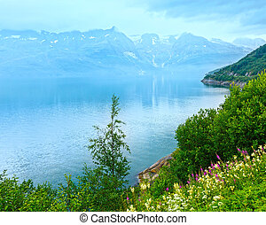 zomer, aanzicht, fjord, bewolkt, (norway)
