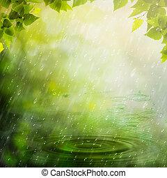 zomer, abstract, natuurlijke , rain., achtergronden