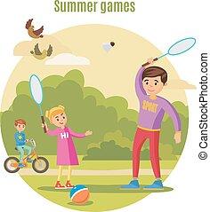 zomer, actief, vrije tijd, concept