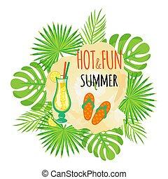 zomer, afgangen, tik, warme, schoeisel, plezier, sandalen