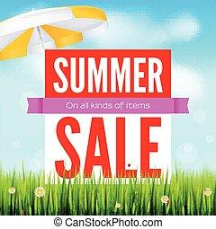 zomer, alles, advertentie, discounts., soorten, blauwe , banner., zon, warme, akker, witte , shoppen , het verkopen, paraplu, mal, achtergrond, wolken, sky., items., verkoop, groene, reclame