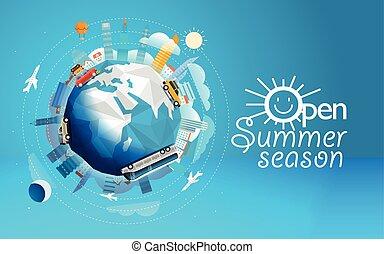 zomer, anders, concept, illustration., seizoen, reizen, reis, vector, vehicle., wereld, open, door