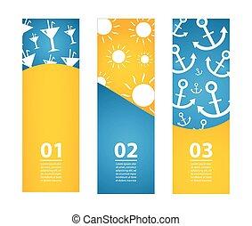 zomer, banieren, eps10, illustratie, vector, bijzondere