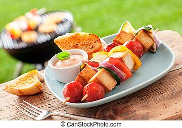 zomer, barbecue, tafel, buitenshuis