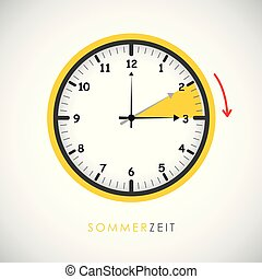 zomer, besparing, klok, daglicht, richtingwijzer, tijd, rood