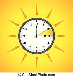 zomer, besparing, klok, zon, daglicht, tijd
