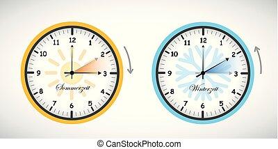 zomer, besparing, winter, klok, daglicht, tijd