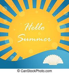 zomer, bijzondere , ontwerp, achtergrond, hallo