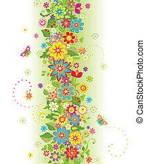 zomer, bloemen, grens, seamless