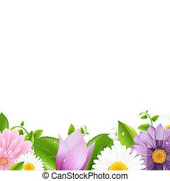 zomer, bloemen, met, blad, grens