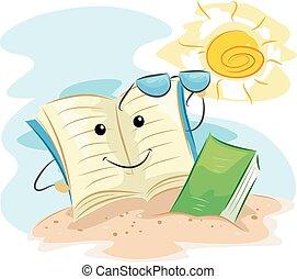 zomer, boek, strand, lezende , mascotte
