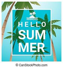 zomer, bomen, tropische , 3, palm, achtergrond, strand, hallo