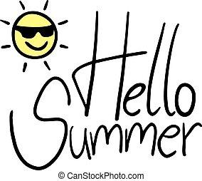zomer, boodschap, ontwerp, hallo