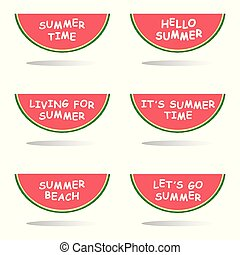 zomer, boodschap, snede, watermeloen, illustratie