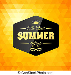 zomer, calligraphic, ontwerp, retro, gestyleerd, kaart