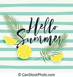 zomer, citroen loof, achtergrond, hellow, fris