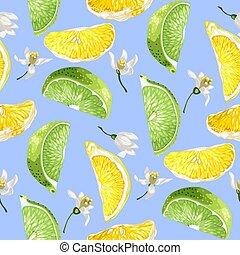 zomer, citroen snijdt, citrus, model, boompje, seamless, vruchten, bloemen, kalk