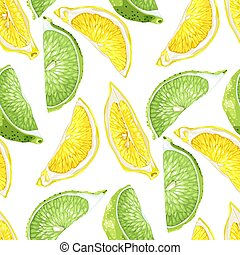 zomer, citroen snijdt, citrus, model, boompje, seamless, vruchten, kalk