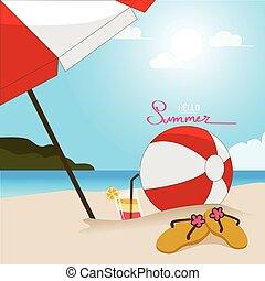 zomer, cocktail, kleurrijke, glas, tijd, strand