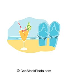 zomer, cocktail, tik, accessoire, afgangen, strand