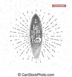 zomer, communie, ontwerp, boarding., web, stijl, symbols., ouderwetse , surfer, hipster, strand, blazoen, branding, badge., poster, zeehondje, grafiek, print., surfing, surfboard, lettering., typografie, lappen, vector, of