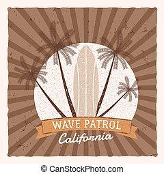 zomer, communie, ontwerp, logo, design., web, stijl, symbols., ouderwetse , patrol., surfer, hipster, strand, blazoen, branding, badge., poster, golf, zeehondje, grafiek, print., instappen, surfing, surfboard, lappen, vector, of