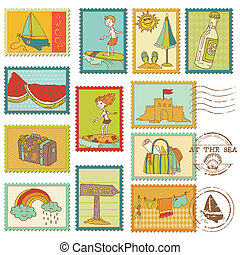 zomer, communie, postzegel, -, verzameling, vector, zee