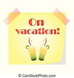 zomer, concept, cocktail, -, vakantie, aantekening, bril