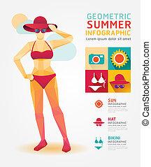 zomer, concept, kleur, illustratie, infographic, ontwerp, vector., geometrisch