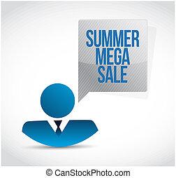 zomer, concept, mega, communicatie, verkoop, zakenman