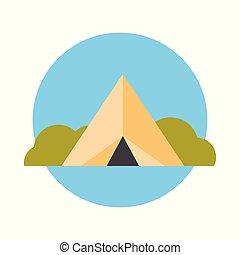 zomer, concept, reizen, kamp, avontuur, pictogram, tentje