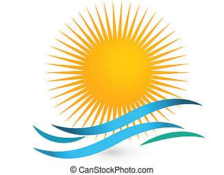 zomer, concept, strand, en, zon, logo