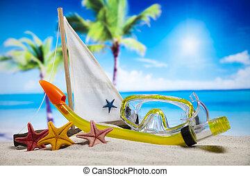 zomer, concept, toon, kleurrijke, vakantie, natuurlijke