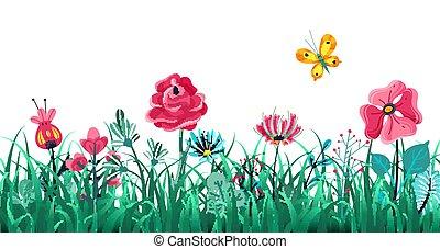 zomer, concept, weide, border., natuur, macro, bloemen, ...
